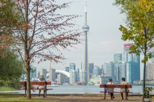 A view of the Toronto skyline from Toronto Island.