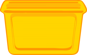 A yellow plastic container