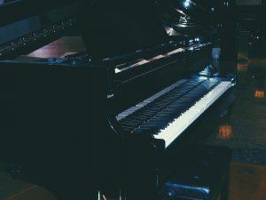 Black concert piano