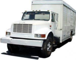 White huge moving truck.
