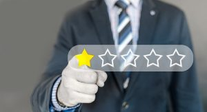 Man giving reviews using stars