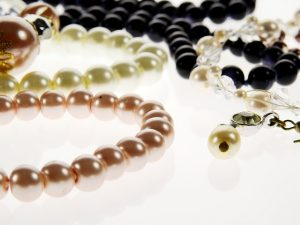 White, rose and black pearls