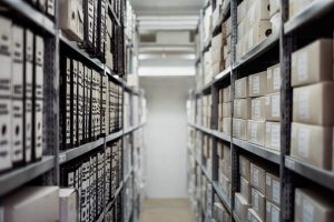 archive of documents on the shelves
