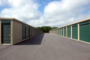 storage units with green doors