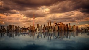 Toronto skyline on a stormy day