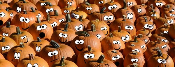 A lot of pumpkins with faces on