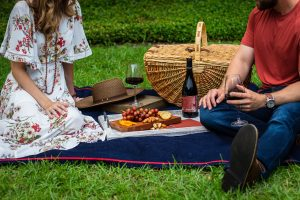 a couple sitting at romantic places in Hamilton having a picnic