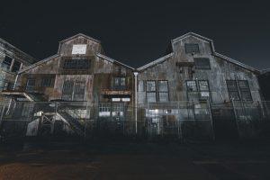 two barnyards at night