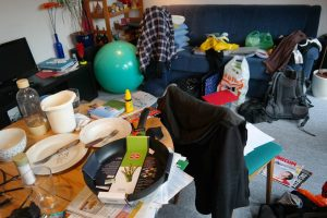 a cluttered room