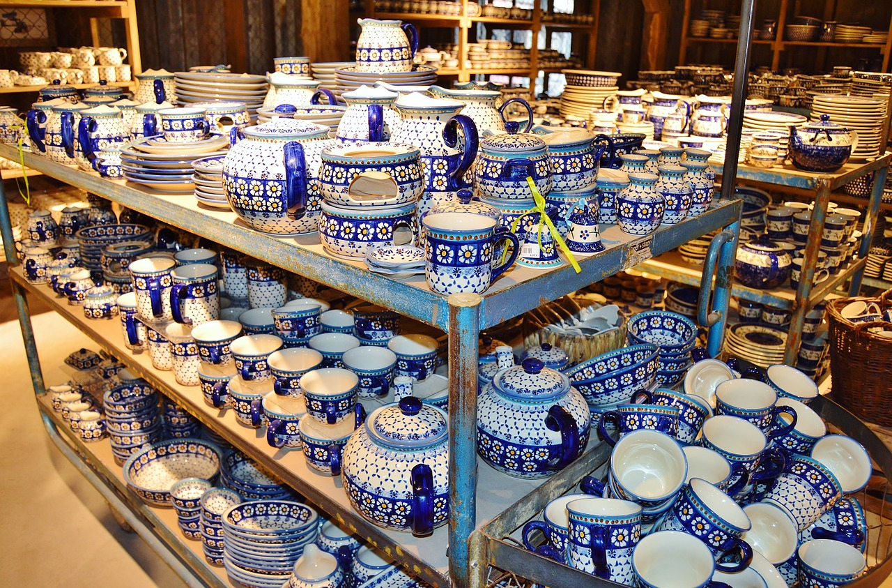 a lot of porcelain