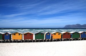 Rainbow cottages on the beach