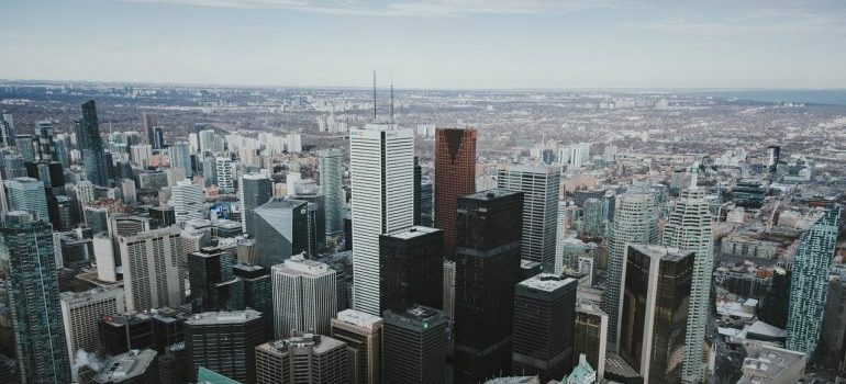 Toronto as seen from a high vantage point at daytime