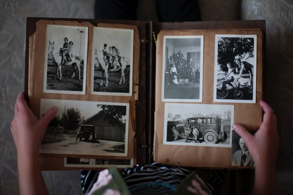 old photo album with black and white pictures