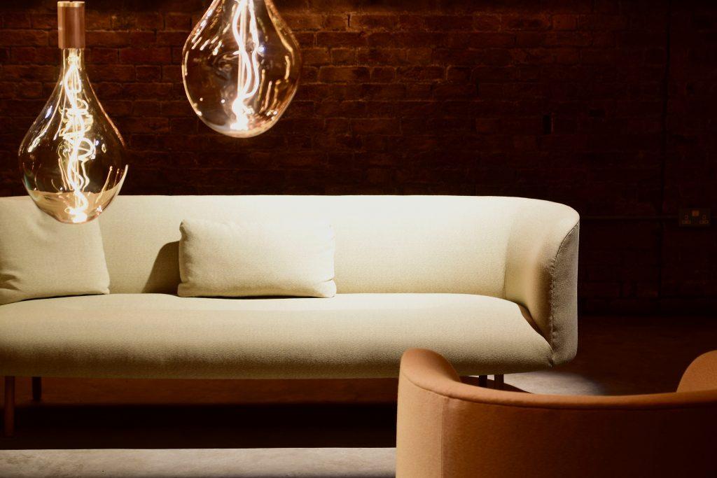 white sofa with pillows