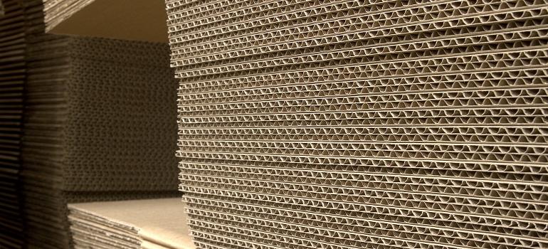 A pile of corrugated carton