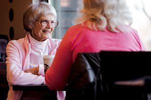 senior woman talking about moving