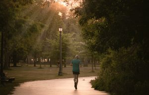 a man running in a park