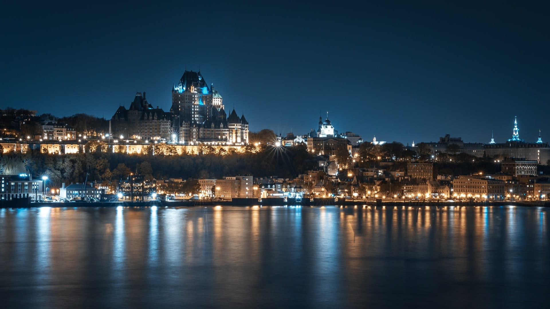 Quebec City skyline at night - the view you'll have after moving from Toronto to Quebec City