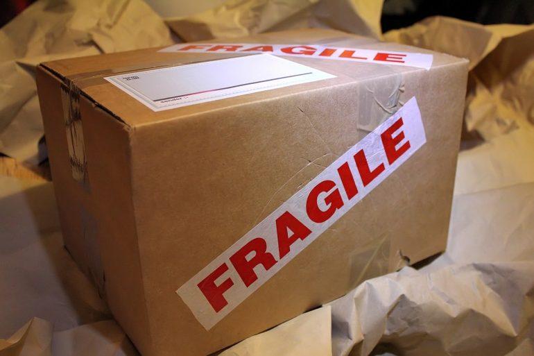 a box that says fragile