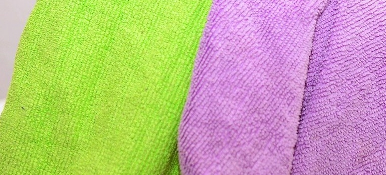 microfiber cloths you will use to clean before you store your antique furniture safely