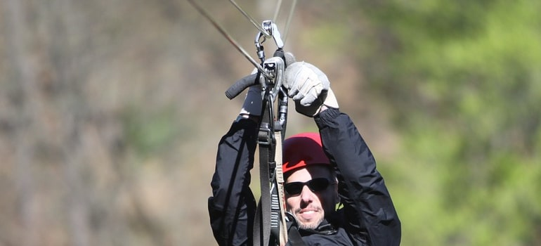 a man on the zip line