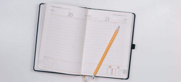Opened notebook with a calendar