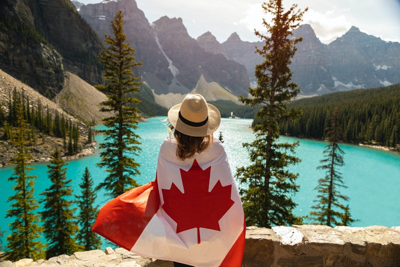 A girl and a Canadian flag