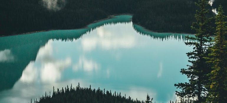 Lake surrounded with Mountains in Canada