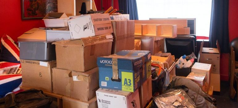 a house full of packed boxes