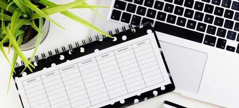 A calendar and a laptop