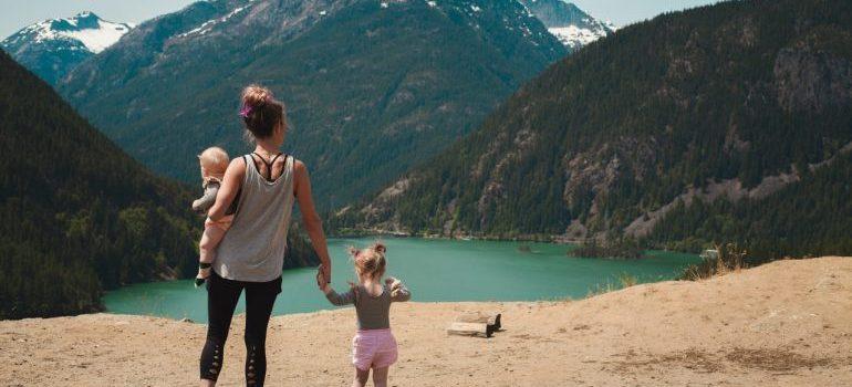 family by a lake