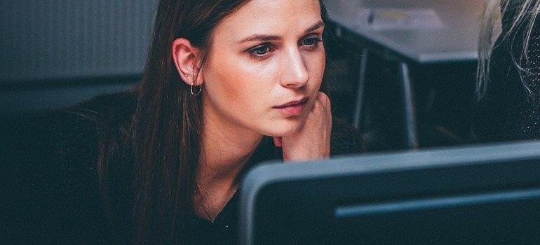a woman at computer