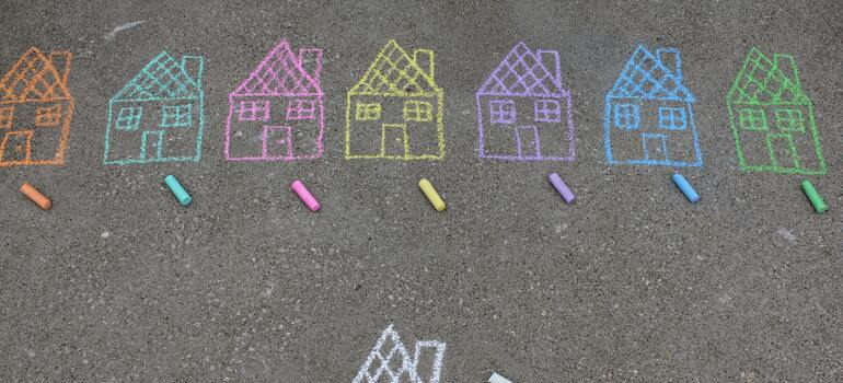 houses drawn on the street