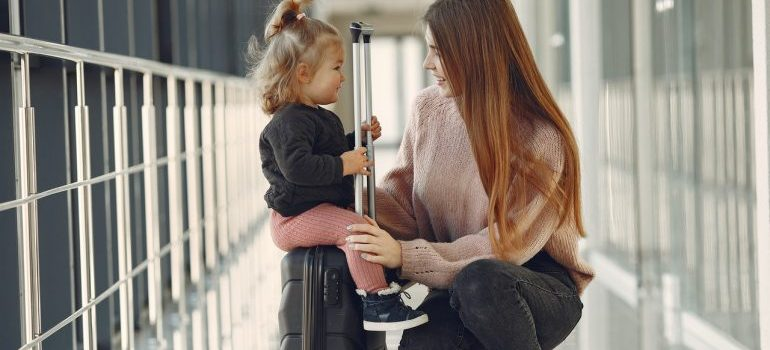 Mother and daughter at the airport