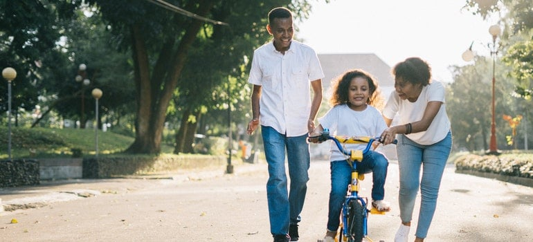 Family bike riding is one of the free things to do in Toronto with kids.