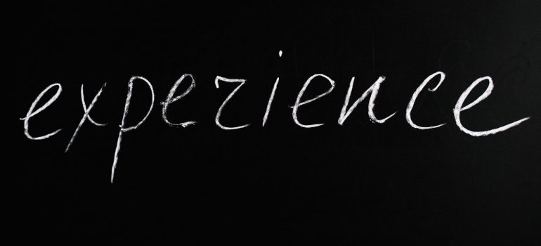 Experience letters on the black board