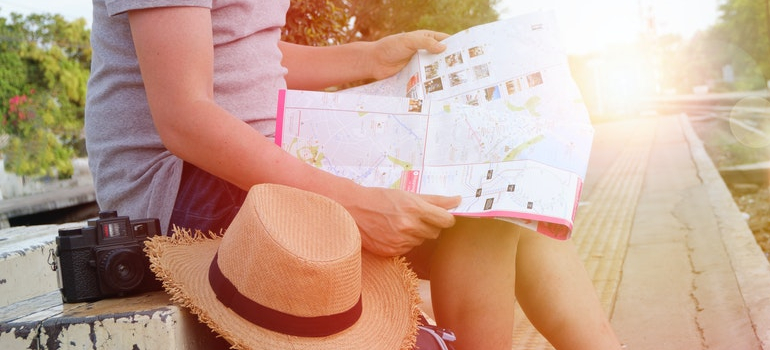 a tourist looking at a map
